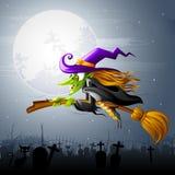 Strega di Halloween di volo Immagine Stock