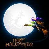 Strega di Halloween di volo Fotografia Stock
