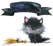 Strega e zucca del gatto di festa di Halloween piccole Illustrazione dell'acquerello Immagini Stock