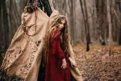 Strega in foresta fotografie stock