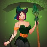 Strega graziosa Halloween Ragazza sexy con la scopa ed il cappello Cartolina d'auguri Halloween felice Immagine Stock Libera da Diritti