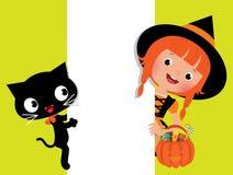 Strega Halloween, il suo gatto e un'insegna bianca Fotografie Stock