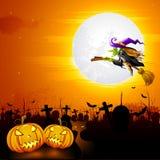 Strega nella notte di Halloween Fotografie Stock Libere da Diritti
