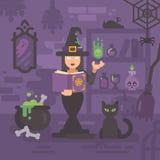 Strega nella sua casa che studia magia Giovane incantesimo della colata della strega royalty illustrazione gratis