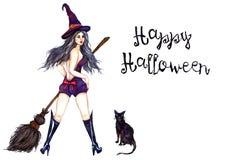 Strega sexy che sta in cappello con la scopa ed il gatto nero Fotografia Stock Libera da Diritti