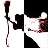 strega Siluette in bianco e nero fotografia stock libera da diritti
