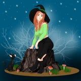 Strega sveglia di Halloween che si siede con la sua Cat Scene nera Illustrazione Vettoriale