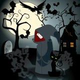 Strega sveglia di Halloween con il gatto nero Immagine Stock Libera da Diritti