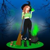 Strega sveglia di Halloween e la sua Cat Scene nera Royalty Illustrazione gratis