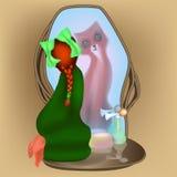 strega, volpe e lo specchio illustrazione di stock
