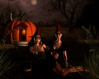 streghe di scena di Halloween Fotografia Stock Libera da Diritti