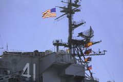 Stregnth and Pride in the US Flag and Airforce royalty free stock image