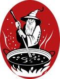 Stregone che cucina il suo brew magico Immagine Stock Libera da Diritti