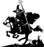 Stregone che monta un cavallo illustrazione di stock