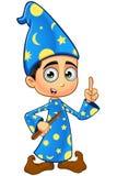 Stregone del ragazzo in blu- avendo un'idea illustrazione vettoriale