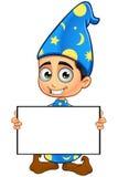 Stregone del ragazzo nel bordo blu- dello spazio in bianco della tenuta royalty illustrazione gratis