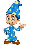 Stregone del ragazzo nell'indicare blu- illustrazione di stock
