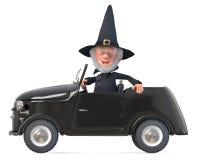 stregone divertente di fiaba dell'illustrazione 3d con un cappello sulla sua automobile Fotografie Stock