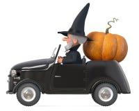 stregone divertente di fiaba dell'illustrazione 3d con un cappello sulla sua automobile Fotografia Stock