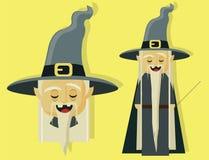 Stregone magico per la storia dei bambini ed il carattere di Halloween illustrazione vettoriale