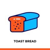 Streichen Sie Linie das Ikone TOAST-BROT der Bäckerei und kochen Vector modernes flaches Piktogramm für bewegliche Anwendung und  Lizenzfreie Stockfotos