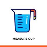 Streichen Sie Linie die Ikone MASS-SCHALE der Bäckerei und kochen Vector modernes flaches Piktogramm für bewegliche Anwendung und Stockfotos
