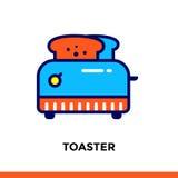 Streichen Sie Linie Ikone TOASTER der Bäckerei und kochen Vector modernes flaches Piktogramm für bewegliche Anwendung und Webdesi Stockfotos