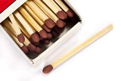Streichholzschachtel und Matchstick Stockfoto