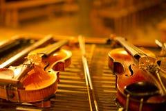 Streichinstrument der Musik zwei Stockbilder