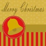 Streifen der frohen Weihnachten und eine Glocke Lizenzfreies Stockbild