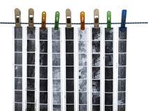 Streifen des 35mm Filmes, einfarbige Negative Stockfotos