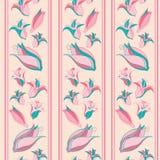 Streifen und Blumen auf Sahnehintergrund lizenzfreie abbildung