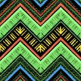 Streift helles Stammes- nahtloses Muster mit Zickzack Stockbild