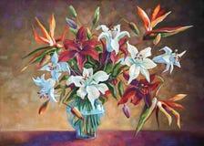 Strelitzia among the lilies. Author: Nikolay Sivenkov. stock illustration