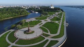 Strelka рек Волга и Kotorosl Yaroslavl, видео России воздушное сток-видео