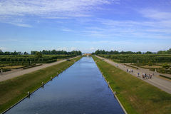 Strelna, Russia - July 4, 2015: Canal in the park the Konstantinovsky Palace - the residence of the president of Russia. Royalty Free Stock Image