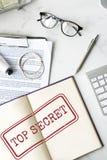 Streng geheim Privatleben-vertrauliches klassifiziertes Stempel-Konzept Lizenzfreies Stockfoto