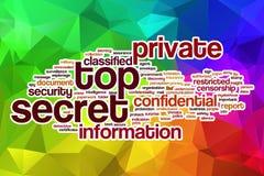 Streng geheim Wortwolke mit abstraktem Hintergrund Stockbild