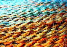 Streng van wolgaren Het macro ontspruiten Textuur van golvende draad  Concept energie De ambachten van de hobbysvrije tijd stock fotografie