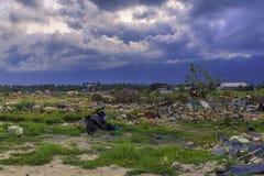 Strenge schade van aardbeving en vloeibaarmaking stock fotografie