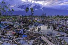 Strenge schade van aardbeving en vloeibaarmaking stock afbeeldingen