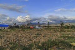 Strenge schade van aardbeving en vloeibaarmakings natuurrampen royalty-vrije stock foto