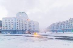 Strenge vorst in Norilsk Stock Afbeelding