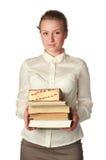 Strenger Lehrer mit Büchern und Feder Lizenzfreie Stockbilder