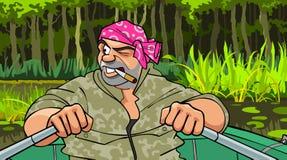 Strenger Mann der Karikatur mit einer Zigarette in seinem Mund, der in ein Boot auf dem See schwimmt Stockbilder