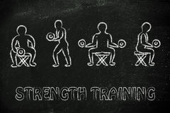 Strenght training and weight lifting illustration Royalty Free Stock Image