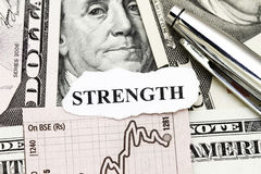 Strength of Business Profit. Concept - with dollar and word strength Stock Image