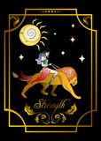 The STRENGTH card. The illustration - card for tarot - the strength Royalty Free Stock Photos