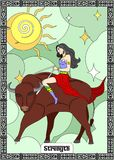 The STRENGTH card. The illustration - card for tarot - the strength Stock Image