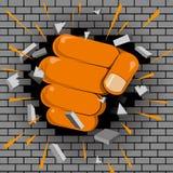 Strength concept design. Fist breaks brick wall vector illustration